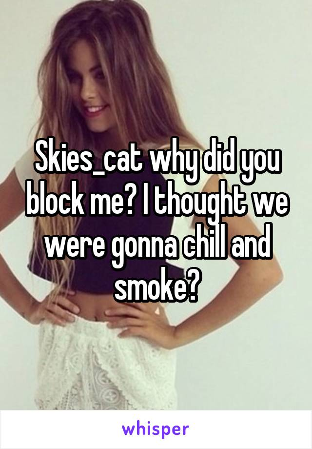 Skies_cat why did you block me? I thought we were gonna chill and smoke?