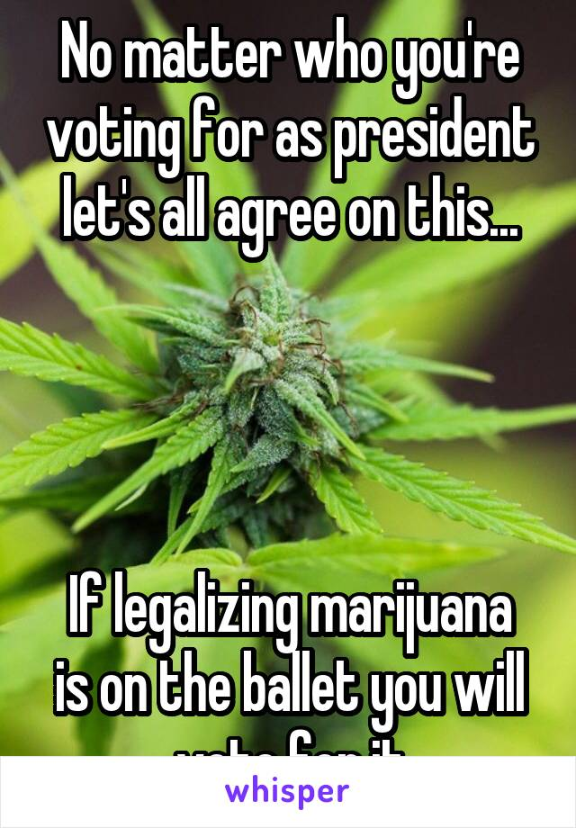 No matter who you're voting for as president let's all agree on this...     If legalizing marijuana is on the ballet you will vote for it
