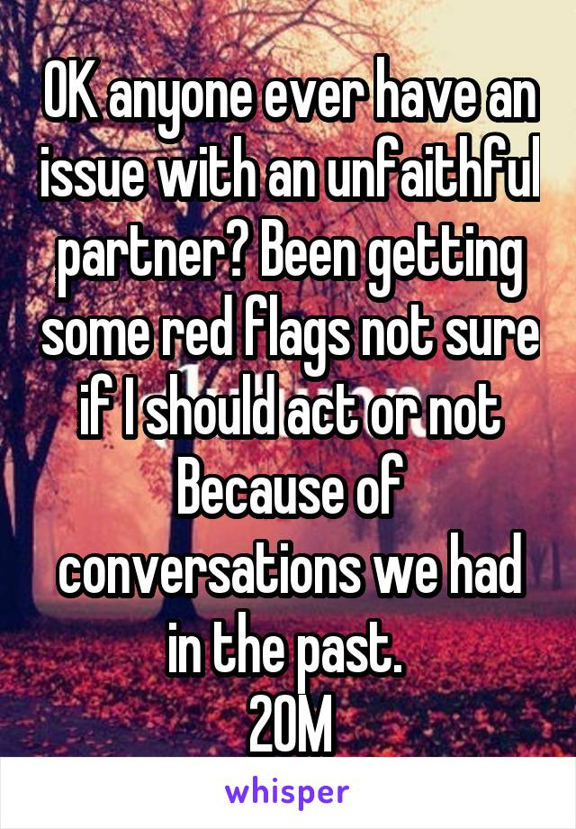 OK anyone ever have an issue with an unfaithful partner? Been getting some red flags not sure if I should act or not Because of conversations we had in the past.  20M
