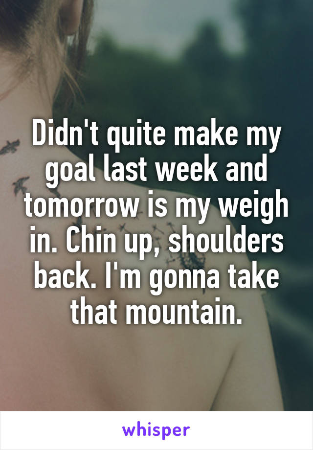 Didn't quite make my goal last week and tomorrow is my weigh in. Chin up, shoulders back. I'm gonna take that mountain.