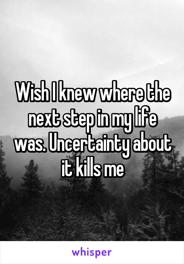 Wish I knew where the next step in my life was. Uncertainty about it kills me