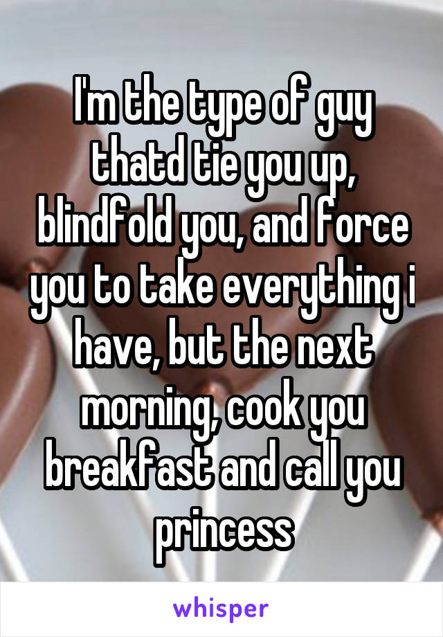 I'm the type of guy thatd tie you up, blindfold you, and force you to take everything i have, but the next morning, cook you breakfast and call you princess