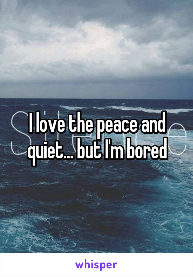 I love the peace and quiet... but I'm bored