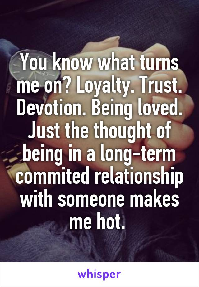 You know what turns me on? Loyalty. Trust. Devotion. Being loved. Just the thought of being in a long-term commited relationship with someone makes me hot.