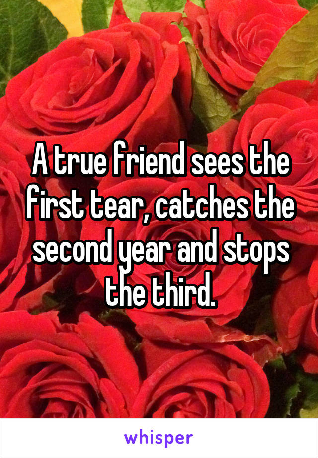 A true friend sees the first tear, catches the second year and stops the third.