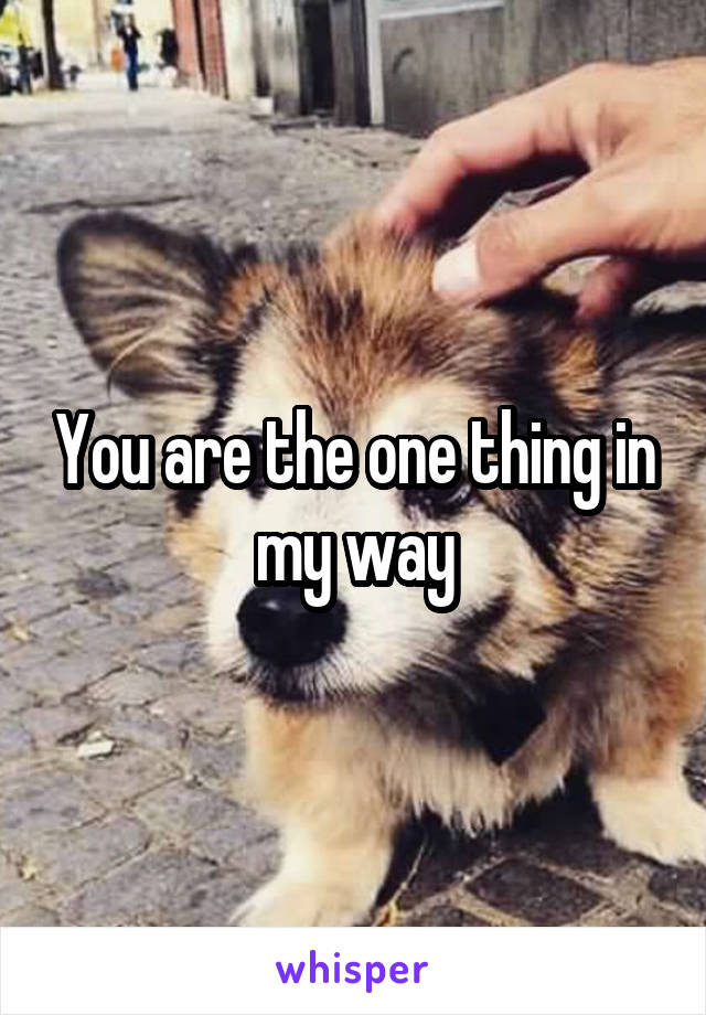 You are the one thing in my way