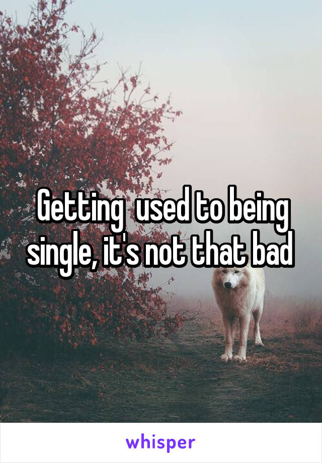 Getting  used to being single, it's not that bad