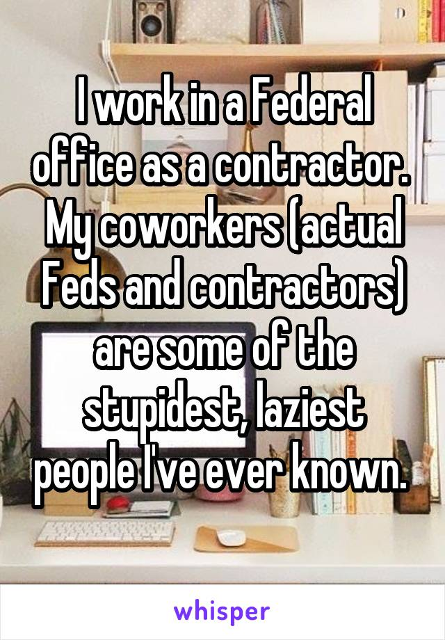 I work in a Federal office as a contractor.  My coworkers (actual Feds and contractors) are some of the stupidest, laziest people I've ever known.