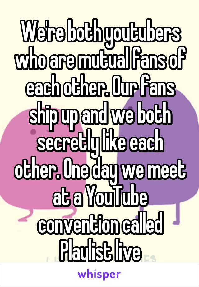 We're both youtubers who are mutual fans of each other. Our fans ship up and we both secretly like each other. One day we meet at a YouTube convention called Playlist live