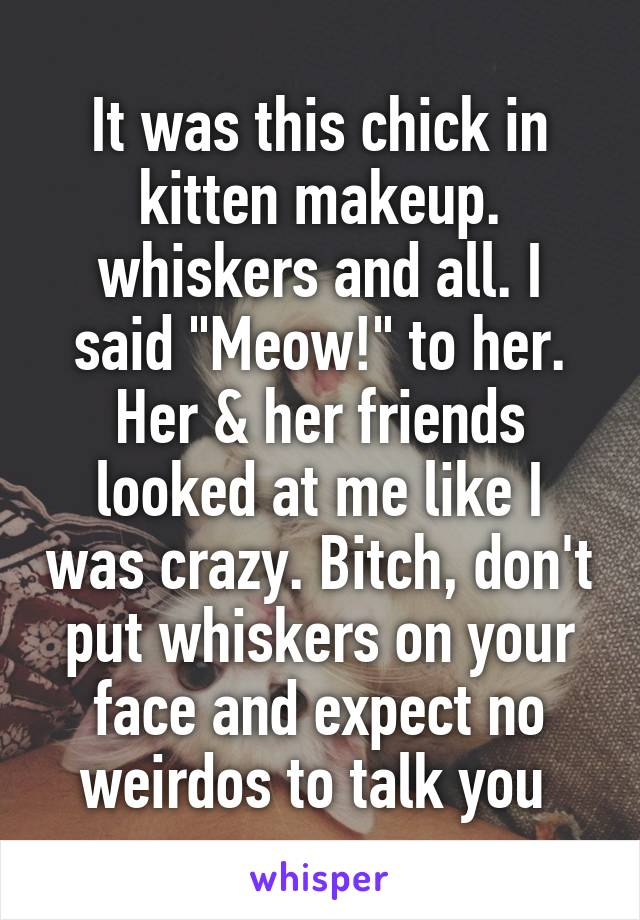 "It was this chick in kitten makeup. whiskers and all. I said ""Meow!"" to her. Her & her friends looked at me like I was crazy. Bitch, don't put whiskers on your face and expect no weirdos to talk you"