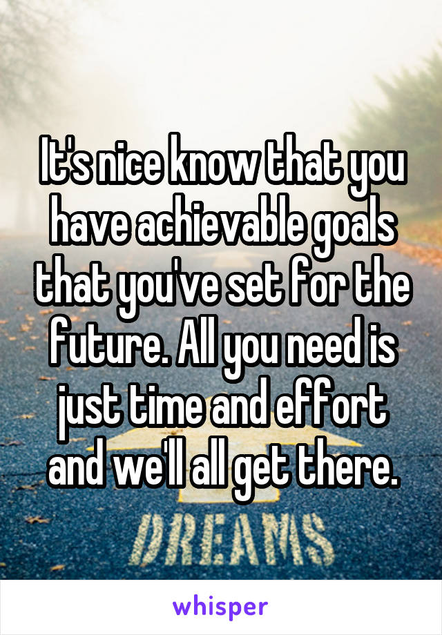 It's nice know that you have achievable goals that you've set for the future. All you need is just time and effort and we'll all get there.