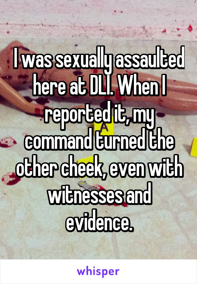 I was sexually assaulted here at DLI. When I reported it, my command turned the other cheek, even with witnesses and evidence.