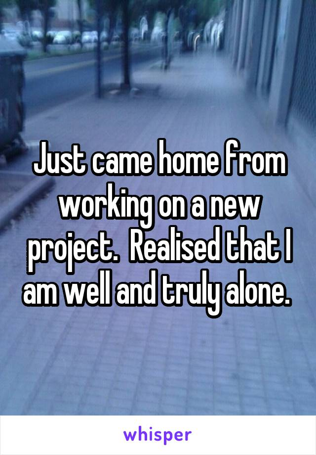 Just came home from working on a new project.  Realised that I am well and truly alone.