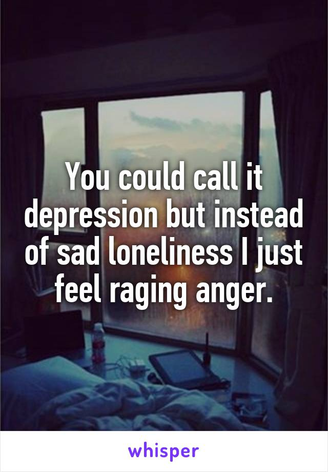You could call it depression but instead of sad loneliness I just feel raging anger.