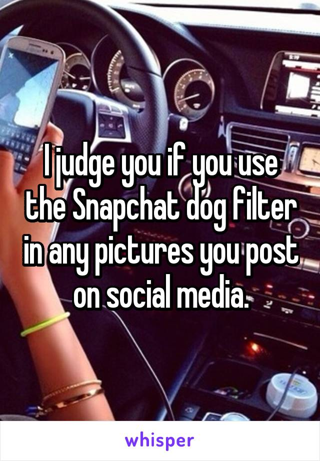 I judge you if you use the Snapchat dog filter in any pictures you post on social media.