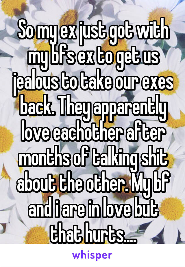 So my ex just got with my bfs ex to get us jealous to take our exes back. They apparently love eachother after months of talking shit about the other. My bf and i are in love but that hurts....