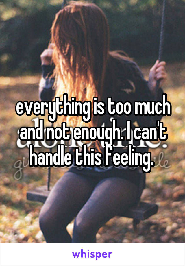 everything is too much and not enough. I can't handle this feeling.