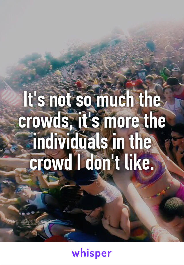 It's not so much the crowds, it's more the individuals in the crowd I don't like.