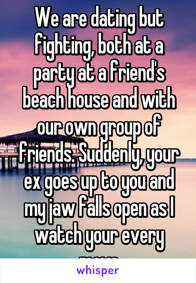 We are dating but fighting, both at a party at a friend's beach house and with our own group of friends. Suddenly, your ex goes up to you and my jaw falls open as I watch your every move