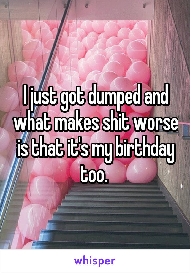 I just got dumped and what makes shit worse is that it's my birthday too.