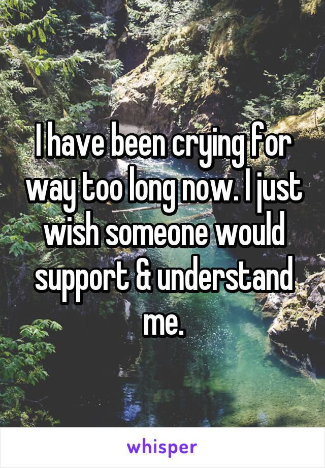 I have been crying for way too long now. I just wish someone would support & understand me.