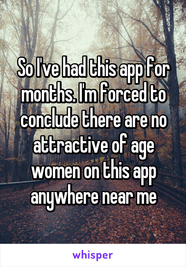 So I've had this app for months. I'm forced to conclude there are no attractive of age women on this app anywhere near me