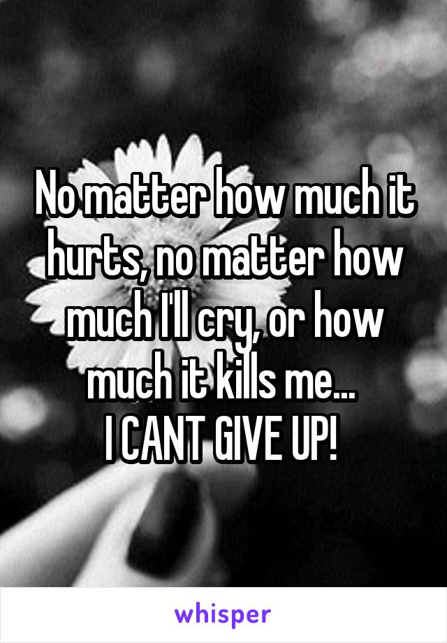 No matter how much it hurts, no matter how much I'll cry, or how much it kills me...  I CANT GIVE UP!
