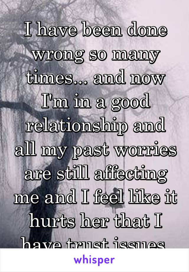 I have been done wrong so many times... and now I'm in a good relationship and all my past worries are still affecting me and I feel like it hurts her that I have trust issues