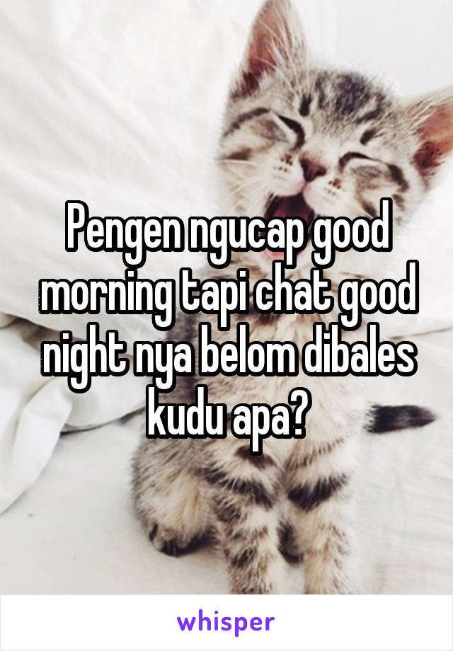 Pengen ngucap good morning tapi chat good night nya belom dibales kudu apa?
