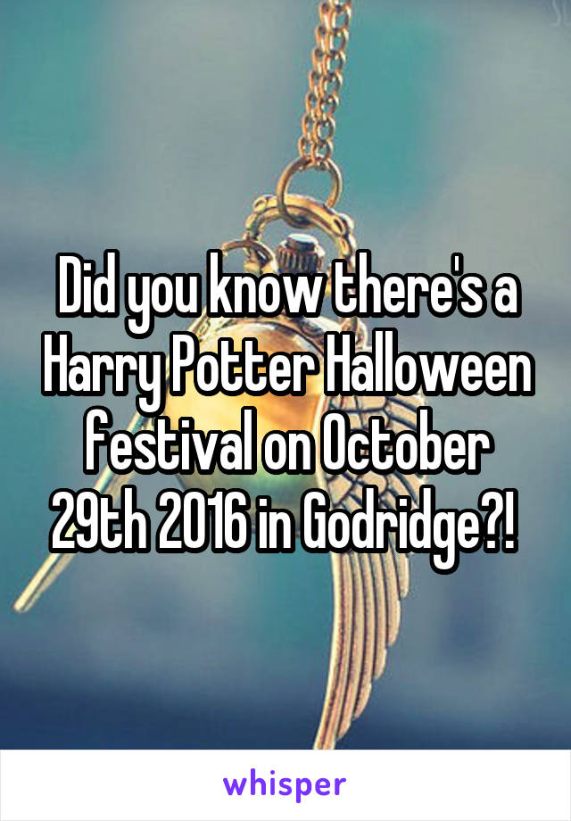 Did you know there's a Harry Potter Halloween festival on October 29th 2016 in Godridge?!