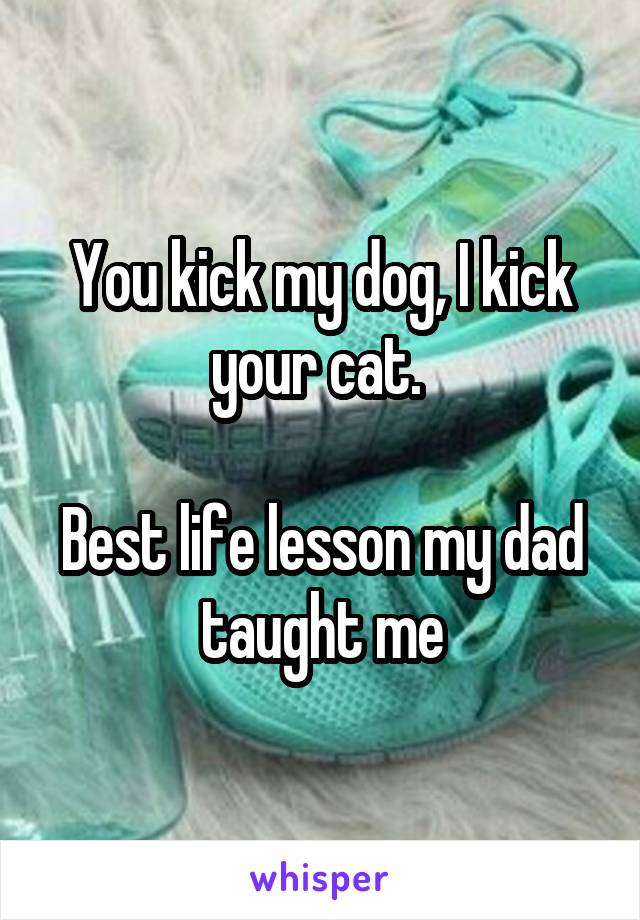You kick my dog, I kick your cat.   Best life lesson my dad taught me
