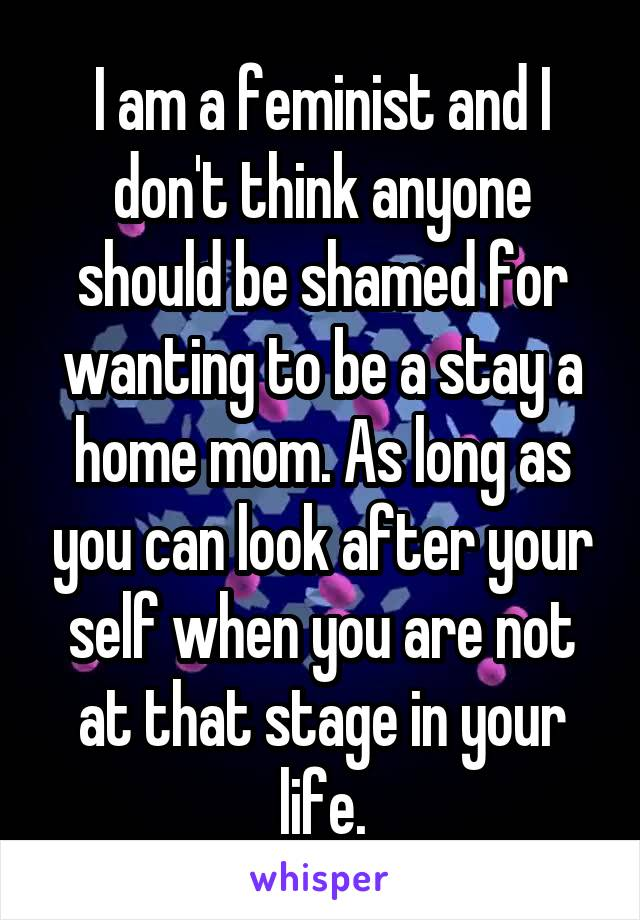 I am a feminist and I don't think anyone should be shamed for wanting to be a stay a home mom. As long as you can look after your self when you are not at that stage in your life.