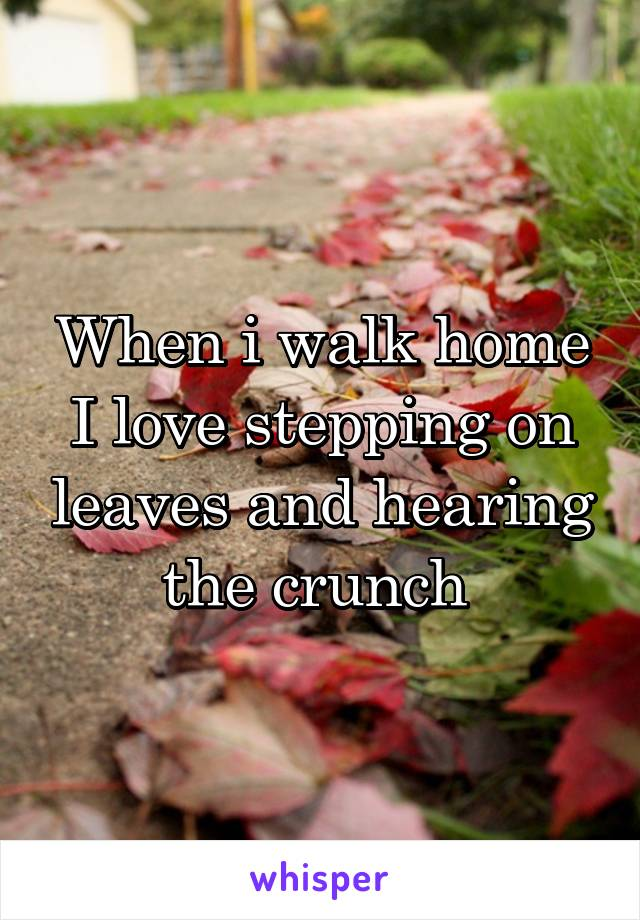 When i walk home I love stepping on leaves and hearing the crunch