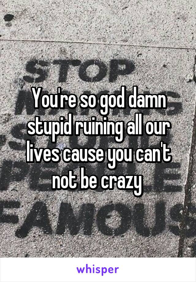 You're so god damn stupid ruining all our lives cause you can't not be crazy