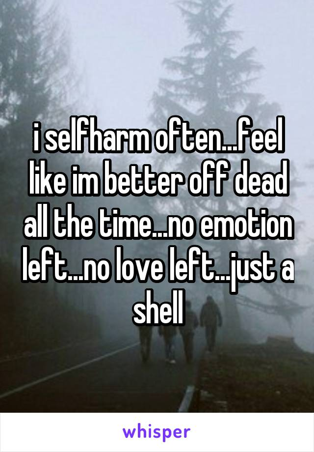 i selfharm often...feel like im better off dead all the time...no emotion left...no love left...just a shell
