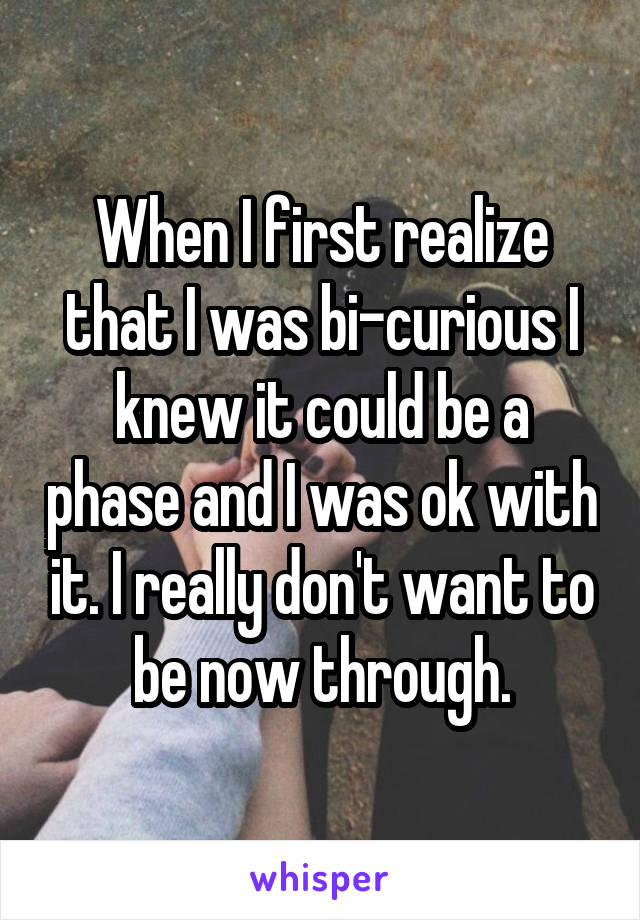 When I first realize that I was bi-curious I knew it could be a phase and I was ok with it. I really don't want to be now through.