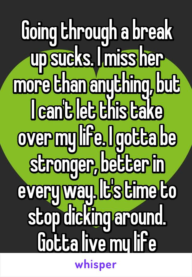Going through a break up sucks. I miss her more than anything, but I can't let this take over my life. I gotta be stronger, better in every way. It's time to stop dicking around. Gotta live my life