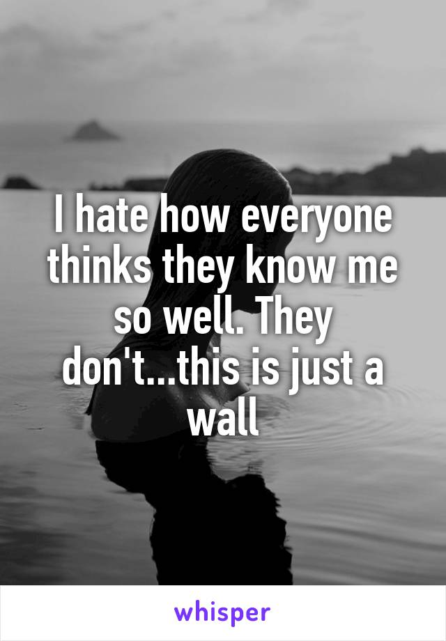 I hate how everyone thinks they know me so well. They don't...this is just a wall