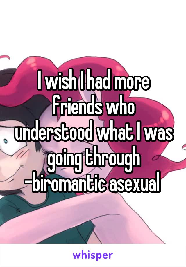 I wish I had more friends who understood what I was going through -biromantic asexual