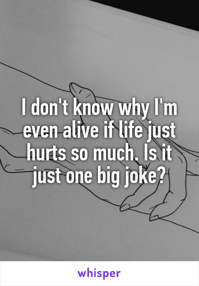 I don't know why I'm even alive if life just hurts so much. Is it just one big joke?