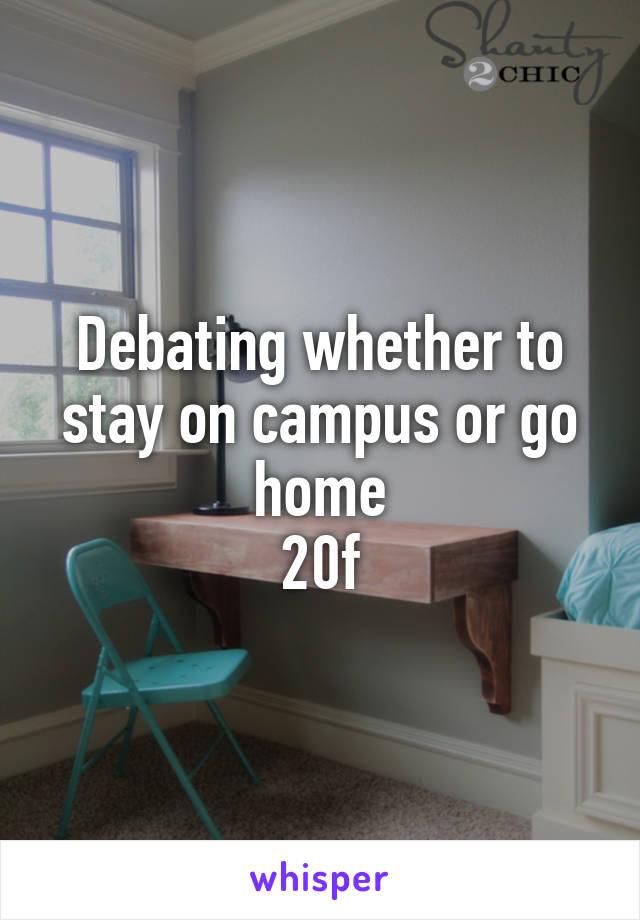 Debating whether to stay on campus or go home 20f