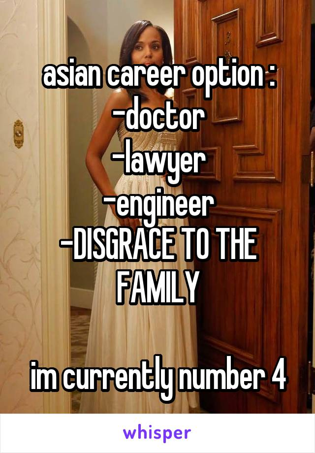 asian career option : -doctor -lawyer -engineer -DISGRACE TO THE FAMILY  im currently number 4