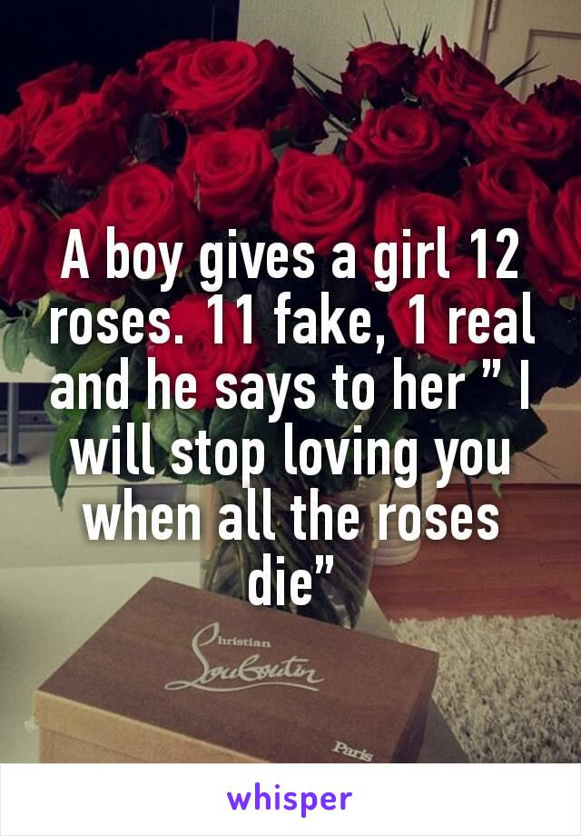 "A boy gives a girl 12 roses. 11 fake, 1 real and he says to her "" I will stop loving you when all the roses die"""