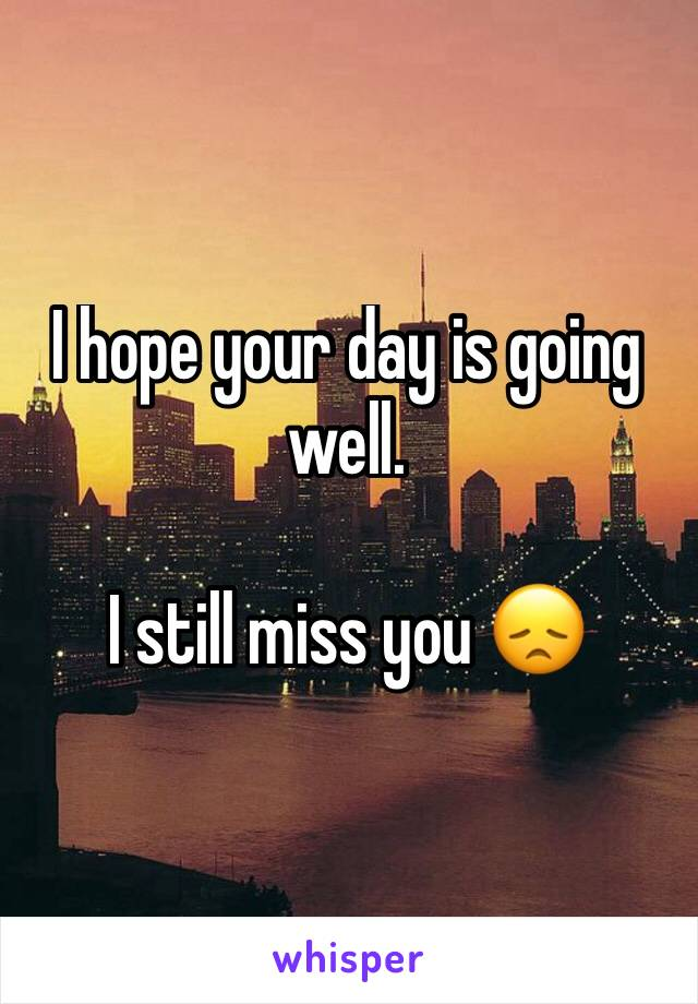 I hope your day is going well.   I still miss you 😞