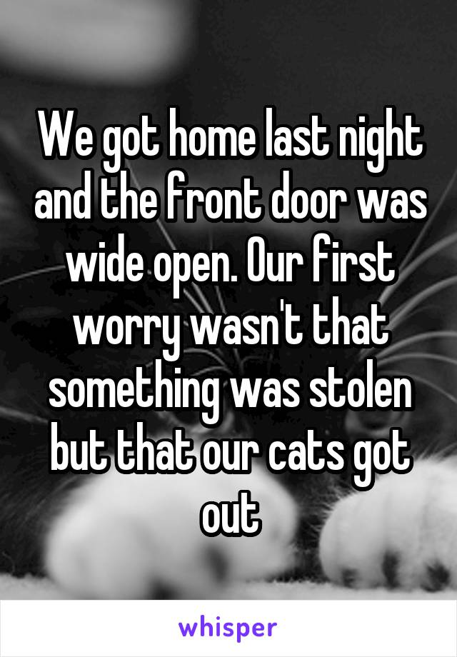 We got home last night and the front door was wide open. Our first worry wasn't that something was stolen but that our cats got out