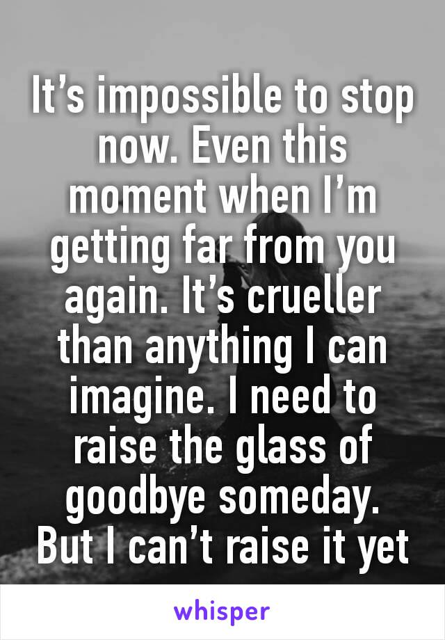 It's impossible to stop now. Even this moment when I'm getting far from you again. It's crueller than anything I can imagine. I need to raise the glass of goodbye someday. But I can't raise it yet