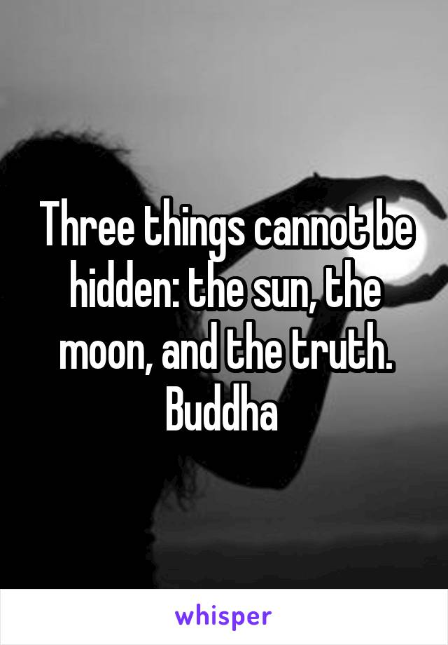 Three things cannot be hidden: the sun, the moon, and the truth. Buddha