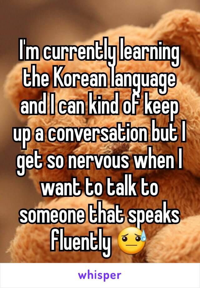 I'm currently learning the Korean language and I can kind of keep up a conversation but I get so nervous when I want to talk to someone that speaks fluently 😓