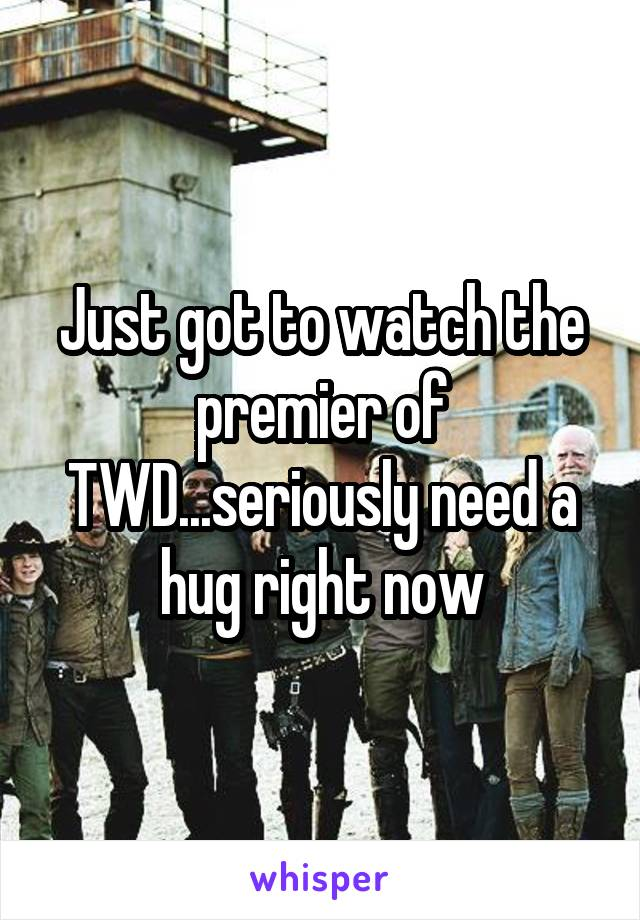 Just got to watch the premier of TWD...seriously need a hug right now