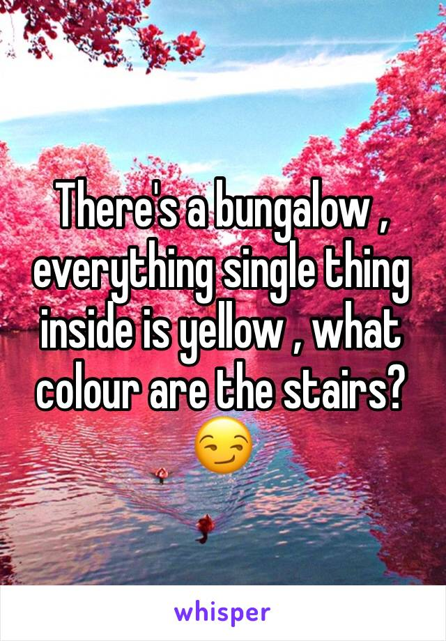 There's a bungalow , everything single thing inside is yellow , what colour are the stairs?😏